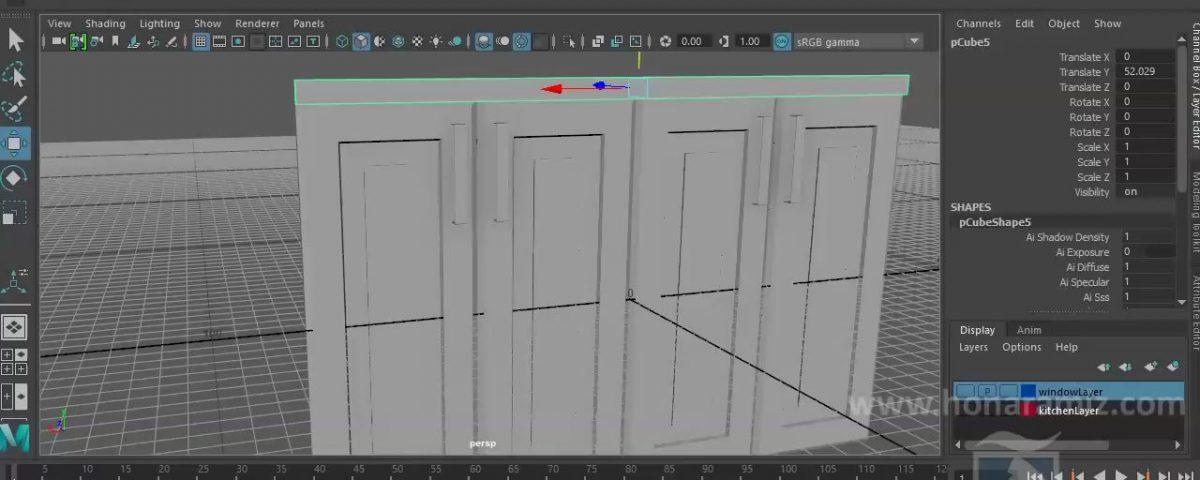مدل سازی کابینت های آشپزخانه