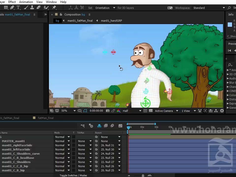 آماده سازی کاراکتر ریگ شده در افتر برای انیمیت در یک کامپ