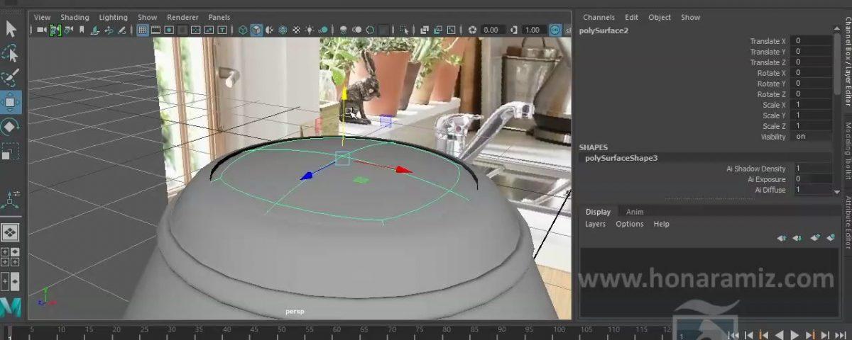 مدل سازی اشیا پیچیده تر آشپزخانه در مایا