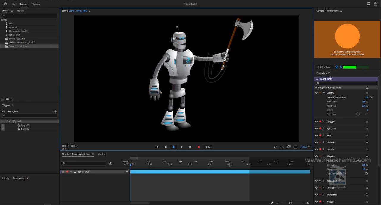 ریگ کاراکتر دوبعدی در Adobe character animator